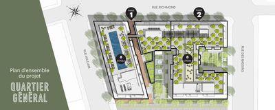 Plan d'aménagement du site du projet de condos Quartier Général