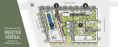 Site plan of the Quartier Général project in Griffintown West