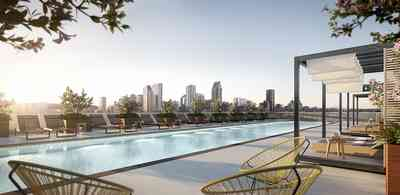 The pool zone of Quartier Général offers view of downtown