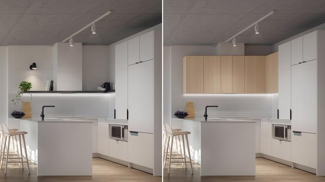 Kitchen with Bianco finishes at the Quartier Général project in Griffintown West