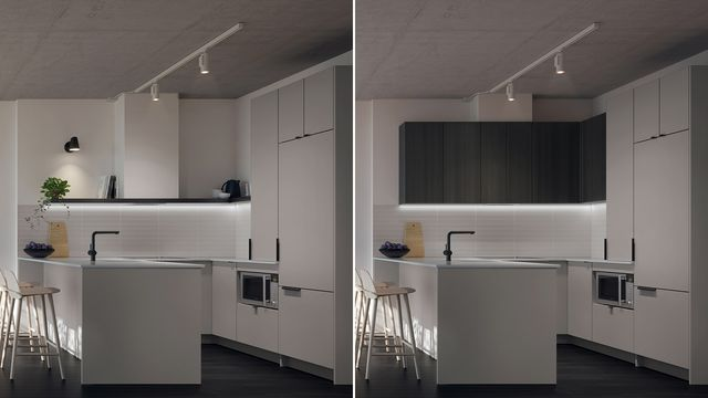 Kitchen with Griset finishes at the Quartier Général project in Griffintown West