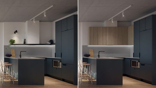 Kitchen with Minuit finishes at the Quartier Général project in Griffintown West