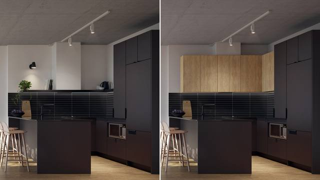 Kitchen with Black finishes at the Quartier Général project in Griffintown West
