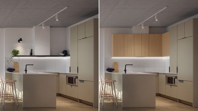 Kitchen with Pastel finishes at the Quartier Général project in Griffintown West