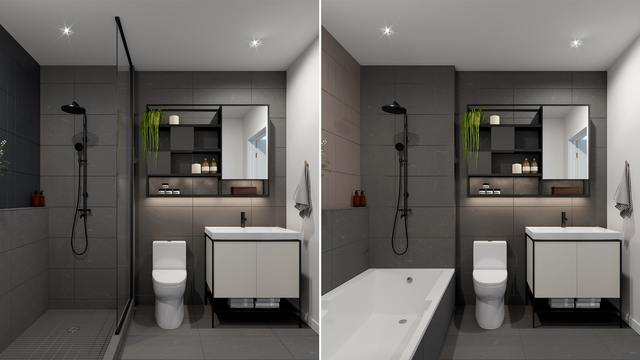 Bathroom with Anthracite finishes at the Quartier Général project in Griffintown West
