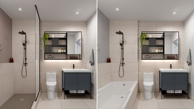Bathroom with Bianco finishes at the Quartier Général project in Griffintown West