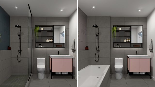 Bathroom with Beton finishes at the Quartier Général project in Griffintown West