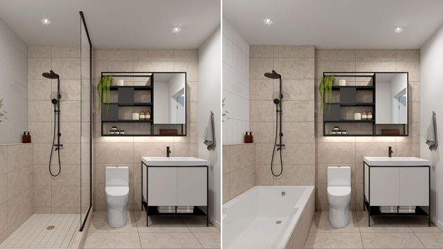 Bathroom with Ivory finishes at the Quartier Général project in Griffintown West