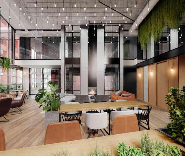 Invitant et chaleureux, le lobby joue à merveille son rôle de lien entre les deux bâtiments du projet Quartier Général