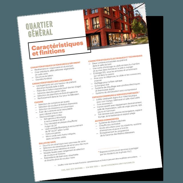 Feuille des caractéristiques et finitions du projet Quartier Général par Prével